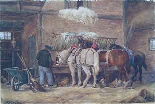 Willem Nakken W/C Painting Stable Scene