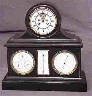 SLATE CASE MANTLE CLOCK BAROMETER THERM