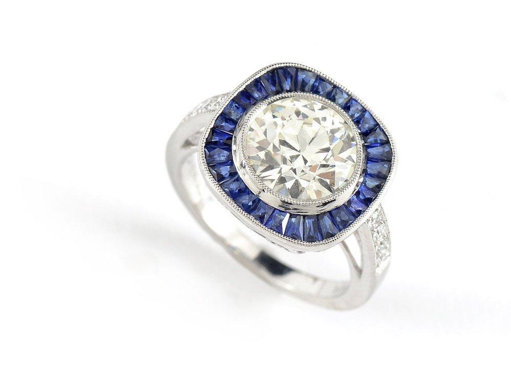 PLATINUM 2.83 CT DIAMOND W/SAPPHIRES RING $28,750