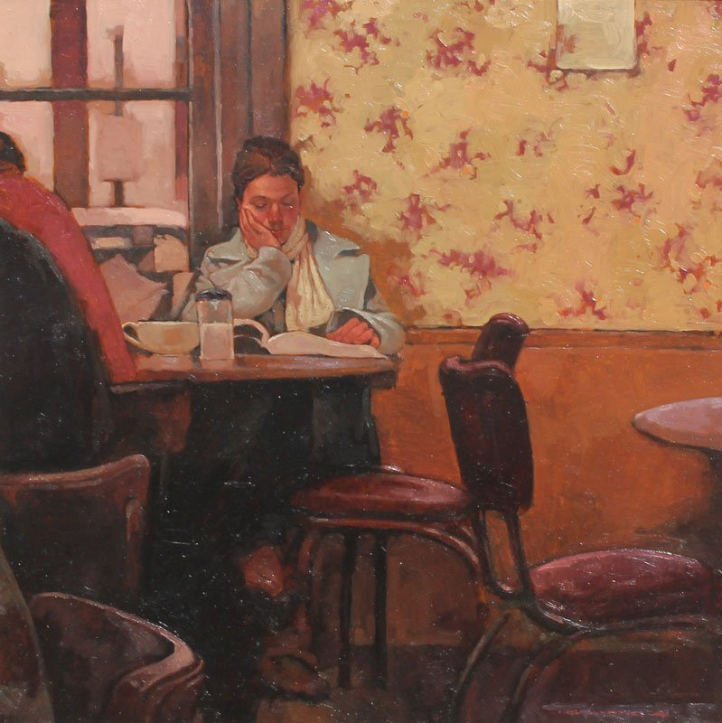 JOSEPH LORUSSO ''AT THE CAFE'' PAINTING