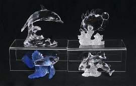 4 PC SWAROVSKI CRYSTAL DOLPHIN  3 FISH FIGURES
