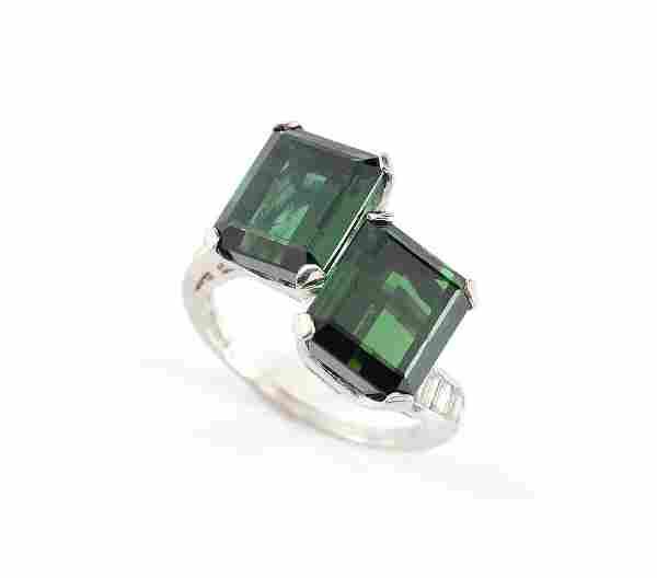 12.4 CT GREEN TOURMALINE & DIAMOND RING SZ 8.5