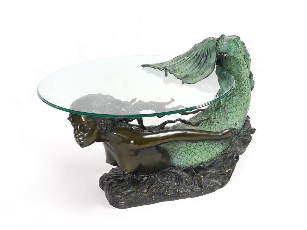 Patinated bronze figural mermaid coffee table lot 1236 for Mermaid coffee table