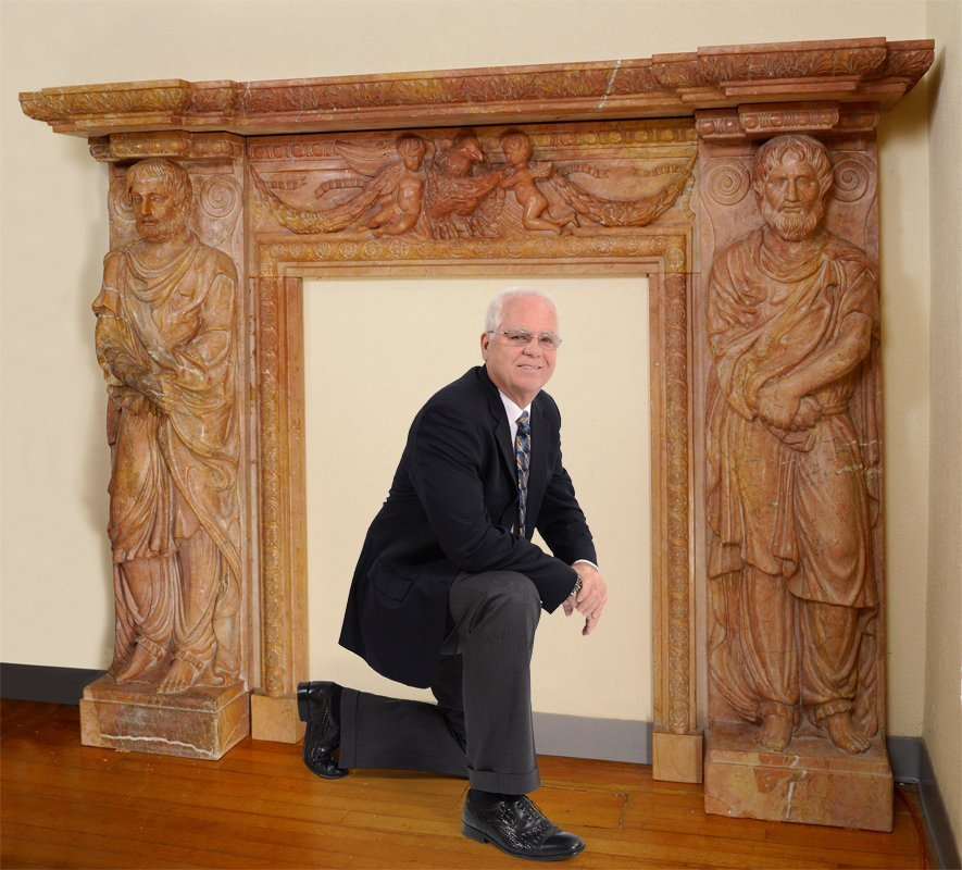 CARVED FIGURAL ROSSO VERONA MARBLE FIRE SURROUND