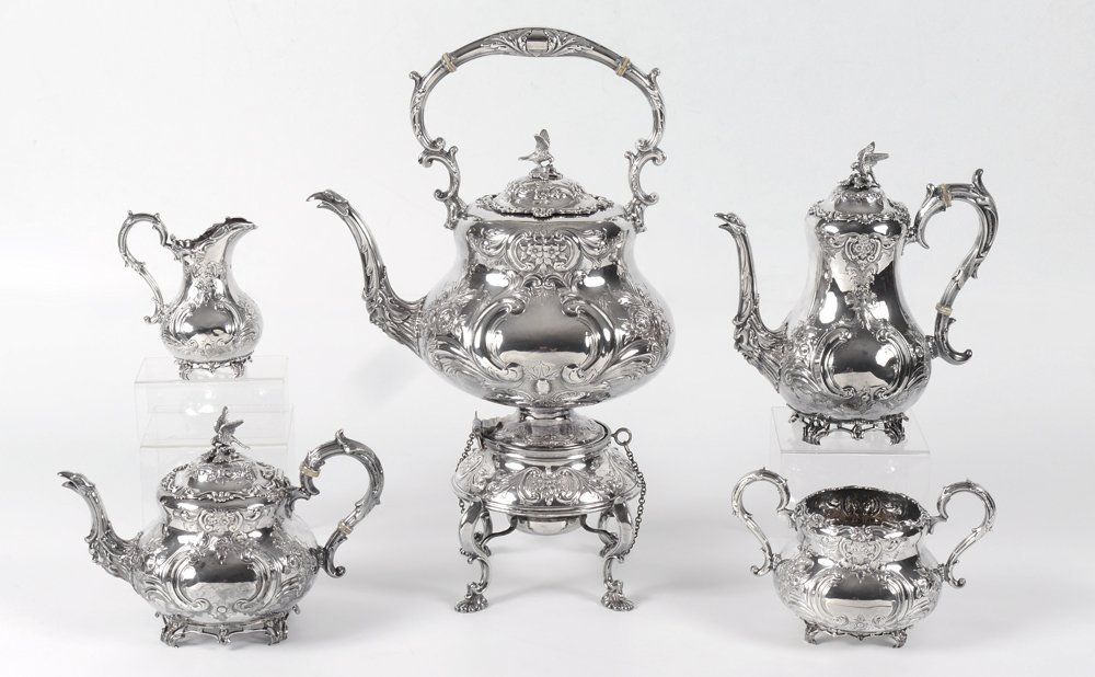 5 PIECE ORNATE ENGLISH STERLING TEA SERVICE