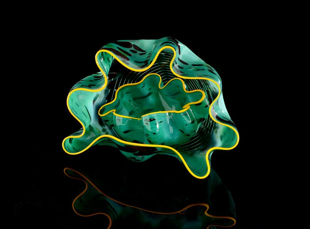 DALE CHIHULY SEAGREEN MACCHIA PAIR GLASS SCULPTURE