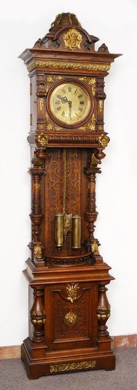 GERMAN CARVED & ORMOLU MOUNTED TALL CASE CLOCK
