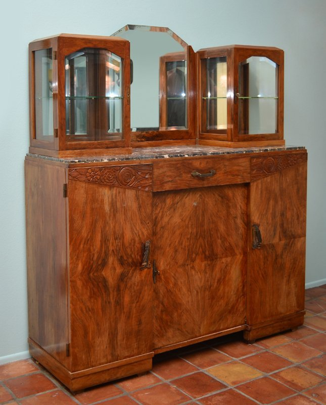 ART DECO WALNUT CARVED MARBLE TOP SIDE CABINET