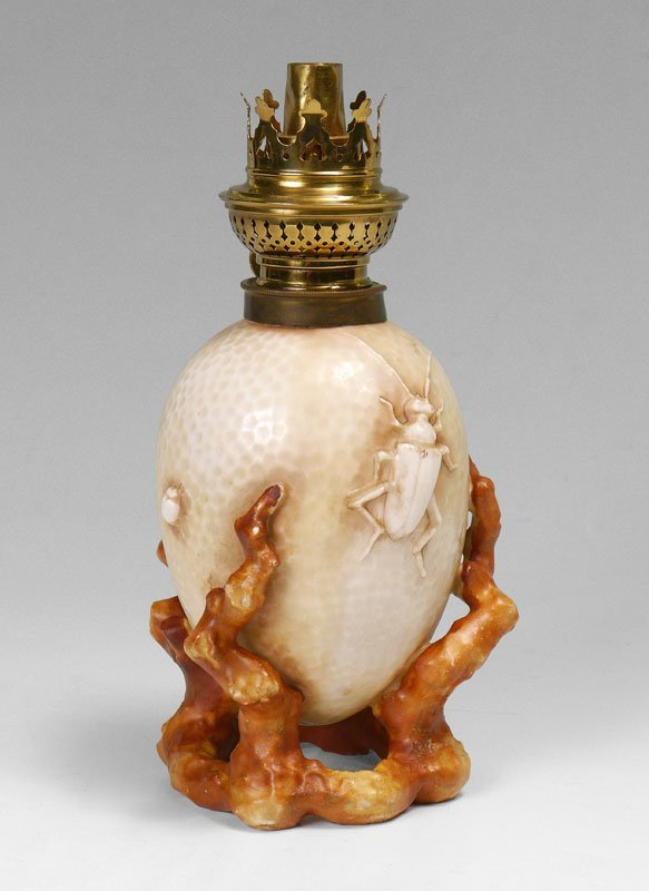 FIGURAL INSECT PORCELAIN OIL LAMP