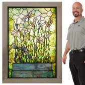 POND MOTIF LEADED STAINED GLASS WINDOW