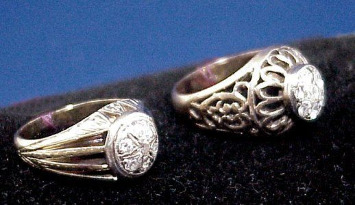 TWO GENTLEMEN'S DIAMOND RINGS 14k