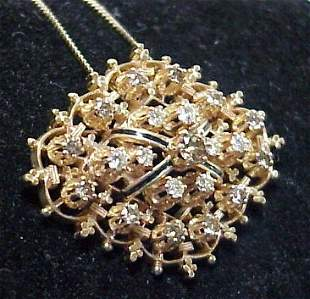 MULTI DIAMOND BROOCH PENDANT 14K