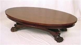 MAHOGANY PAW FOOT COFFEE TABLE