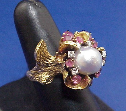 1123A: NATURALISTIC PEARL RUBY DIAMOND RING