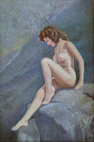 NUDE OIL ON CANVAS BY MARZO