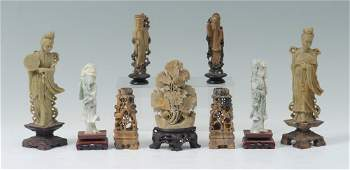 9 PC CHINESE CARVED SOAP  HARD STONE CARVINGS