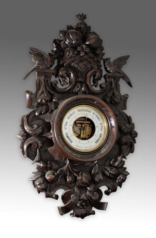 BLACK FOREST PROFUSELY CARVED WALL BAROMETER