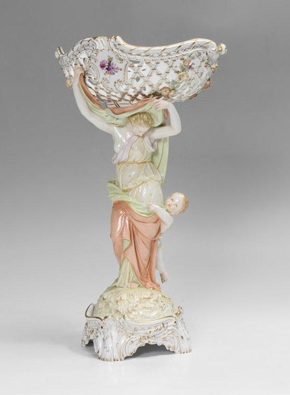 LARGE KPM FIGURAL RETICULATED COMPOTE