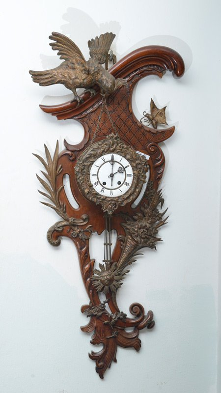 FRENCH BRONZE & WOOD FIGURAL ROCOCO WALL CLOCK