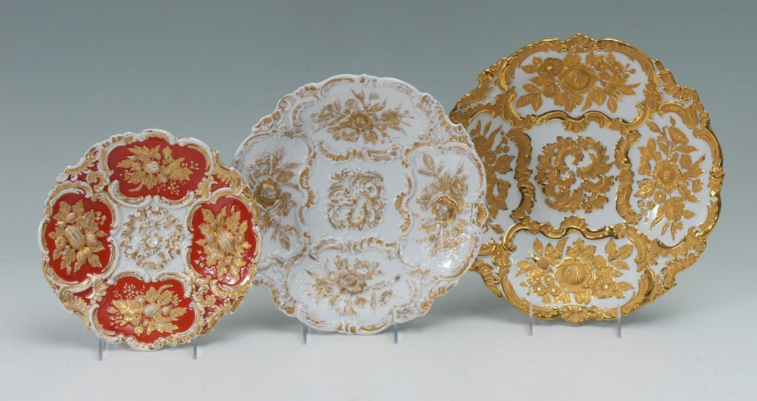 3 EMBOSSED GILT DECORATED MEISSEN SERVING PIECES