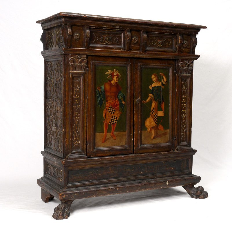 EARLY CARVED AND PAINTED ITALIAN CREDENZA