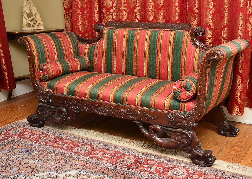 HIGHLY CARVED 19TH CENTURY TRANSITIONAL SOFA