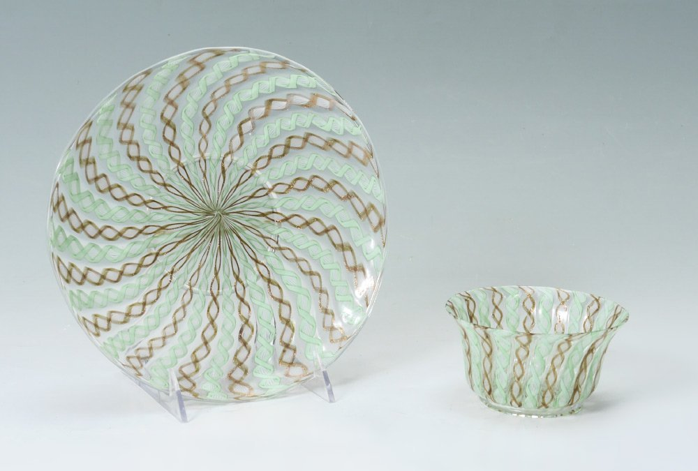 2 PIECE SALVIATI VENETIAN GLASS COMPOTE AND PLATE
