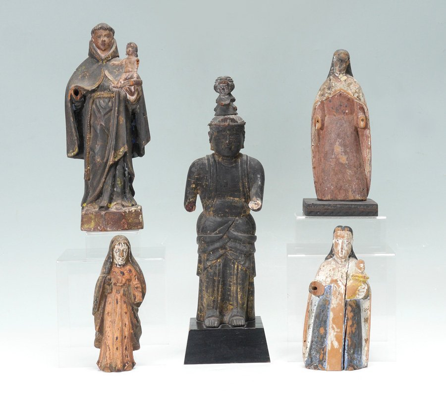 ESTATE LOT OF CARVED WOODEN SANTOS RELIGIOUS FIGURES
