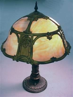 BRADLEY & HUBBARD LAMP SLAG GLASS SHADE