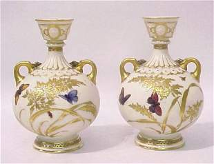 PAIR OF ROYAL WORCESTER VASES BUTTERFLY DESIGN