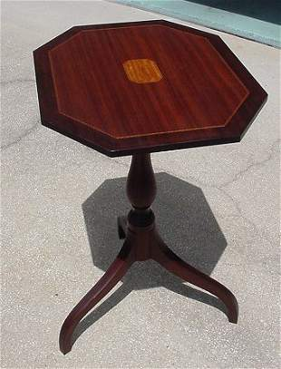 RYDHOLM MAHOGANY PARQUETRY INLAY TILT TOP TABLE