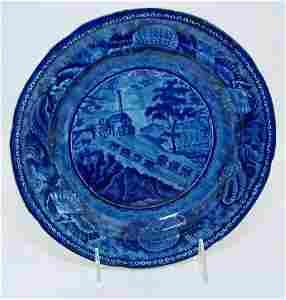 377: HISTORICAL BLUE STAFFORDSHIRE TRANSFER B & O PLATE