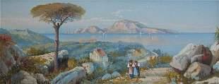 BAY OF NAPLES GOUACHE CIRCA 1910