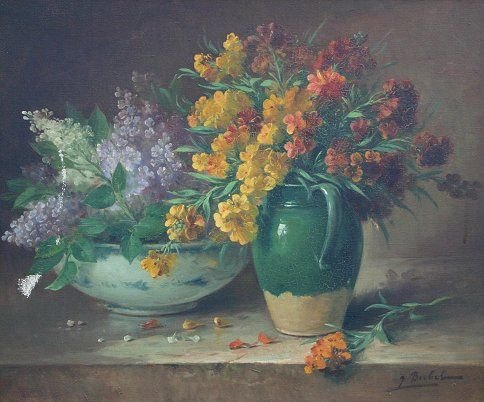 154: SUPERIOR FLORAL STILL LIFE PAINTING BUBEL?