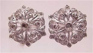 14K WHITE GOLD FLORAL FILIGREE DIAMOND EARRINGS