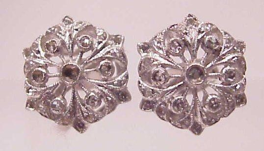 17: 14K WHITE GOLD FLORAL FILIGREE DIAMOND EARRINGS