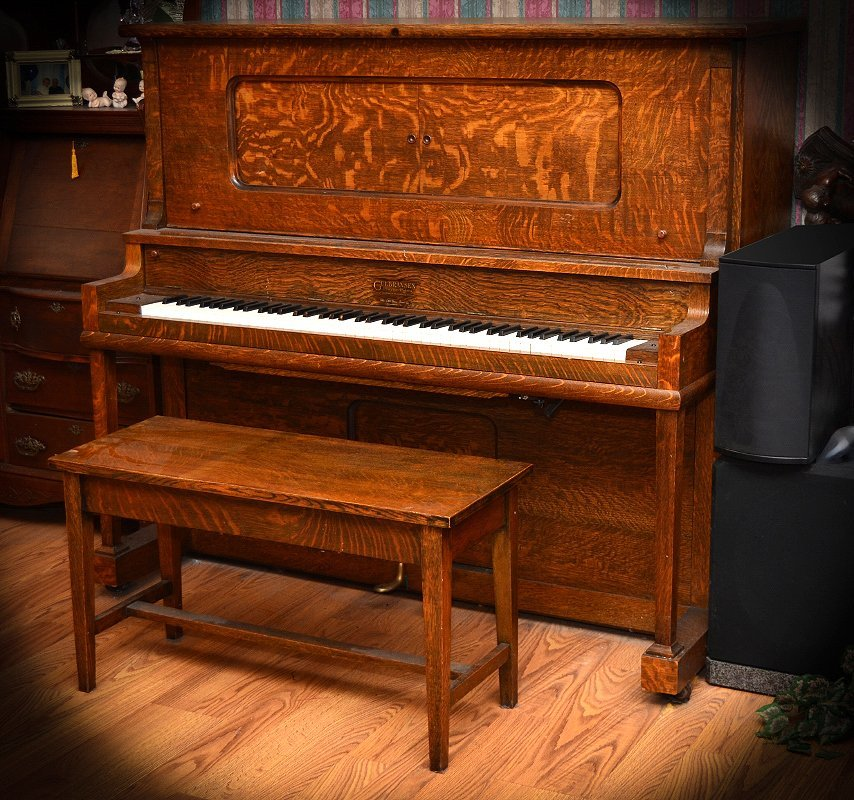 GULBRANSEN GOLDEN OAK UPRIGHT PLAYER PIANO