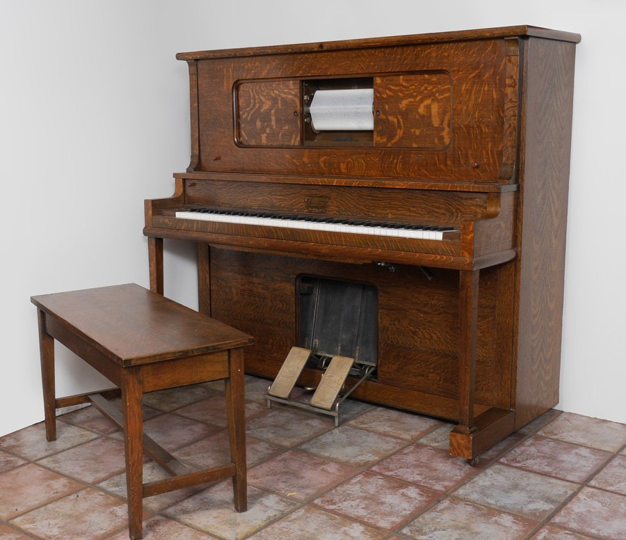 GULBRANSEN GOLDEN OAK UPRIGHT PLAYER PIANO - 2