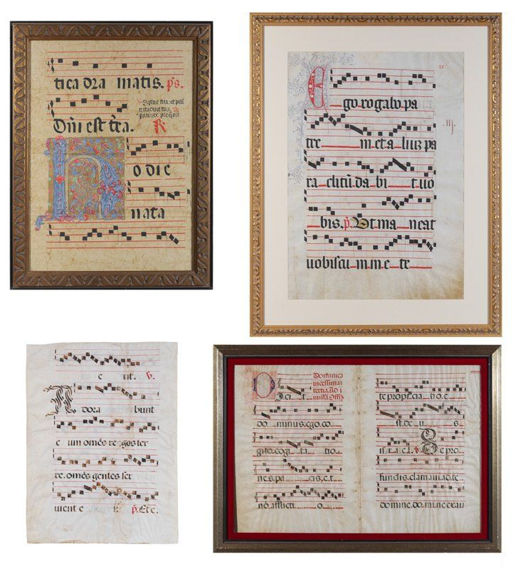 COLLECTION OF ANTIPHONAL MUSIC SHEETS ON VELLUM