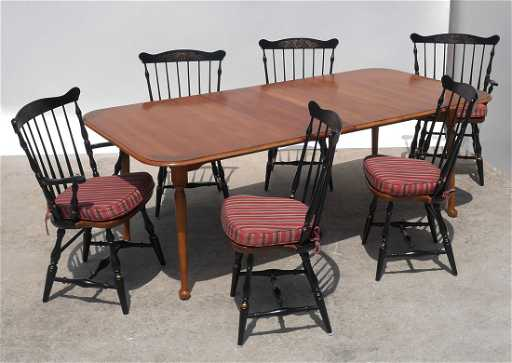 HITCHCOCK DINING TABLE 6 CHAIRS See Sold Price