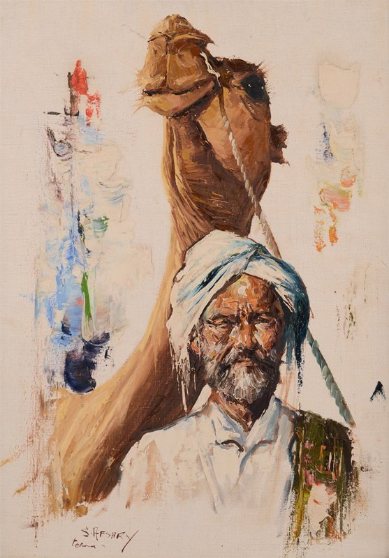 CYRUS AFSARY ARAB WITH CAMEL PAINTING