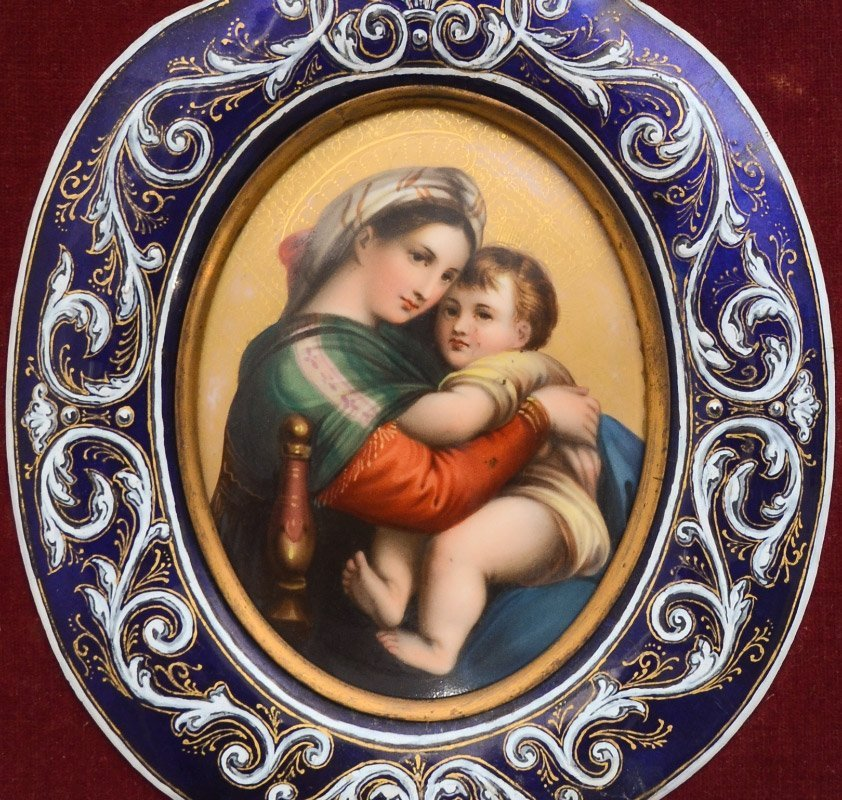 FRENCH ENAMEL & PORCELAIN HOLY WATER FONT