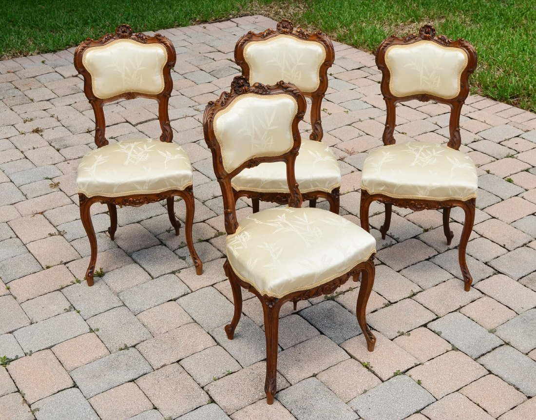 4 FRENCH CARVED SIDE CHAIRS