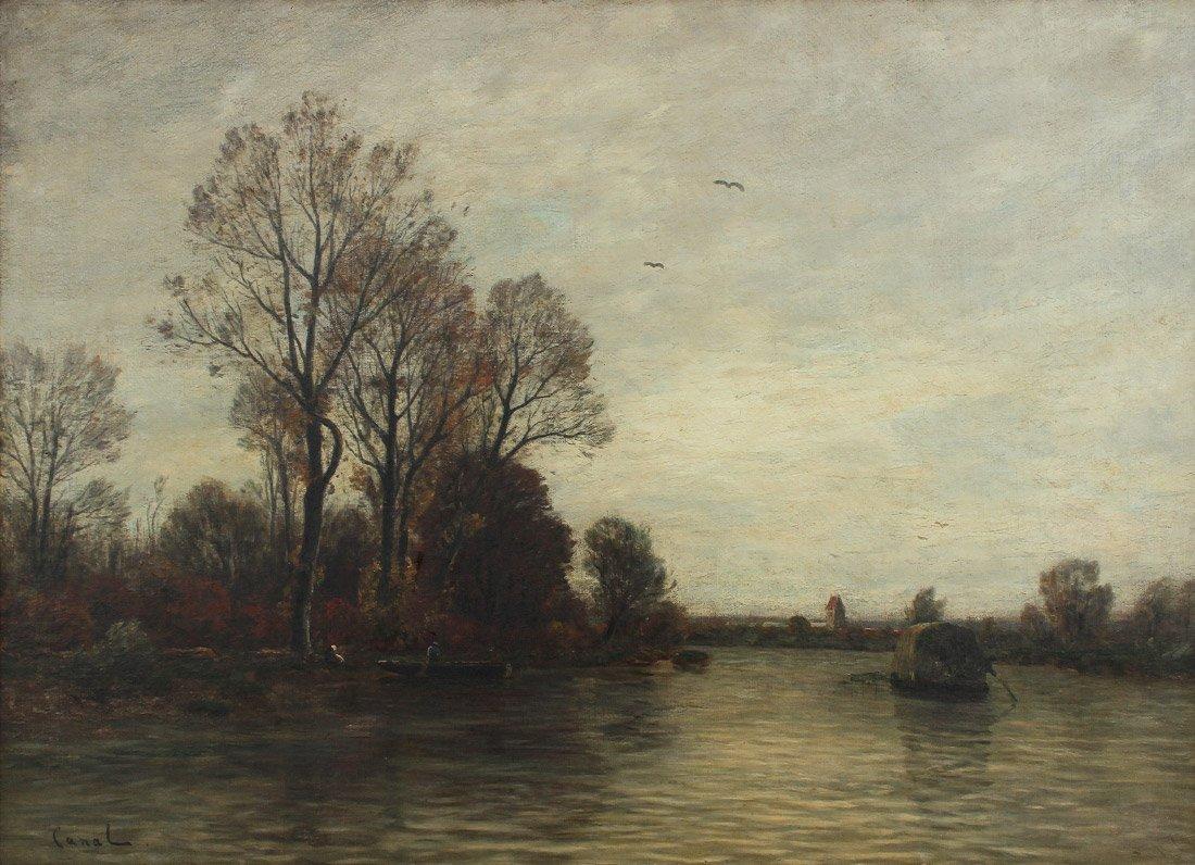 GILBERT VAUGHN CANAL BARBIZON PAINTING