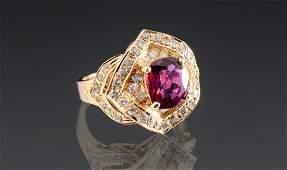 2.14 CT RUBY 18k GOLD RING W/ .50 CTW DIAMONDS