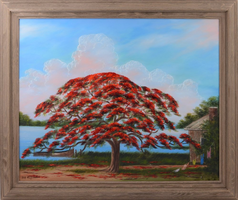 RAY MCLENDON HIGHWAYMEN ROYAL POINSETTIA PAINTING - 2