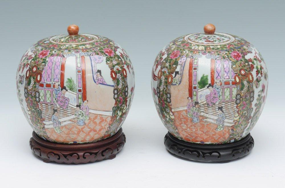 PAIR CHINESE ROSE MEDALLION COVERED JARS