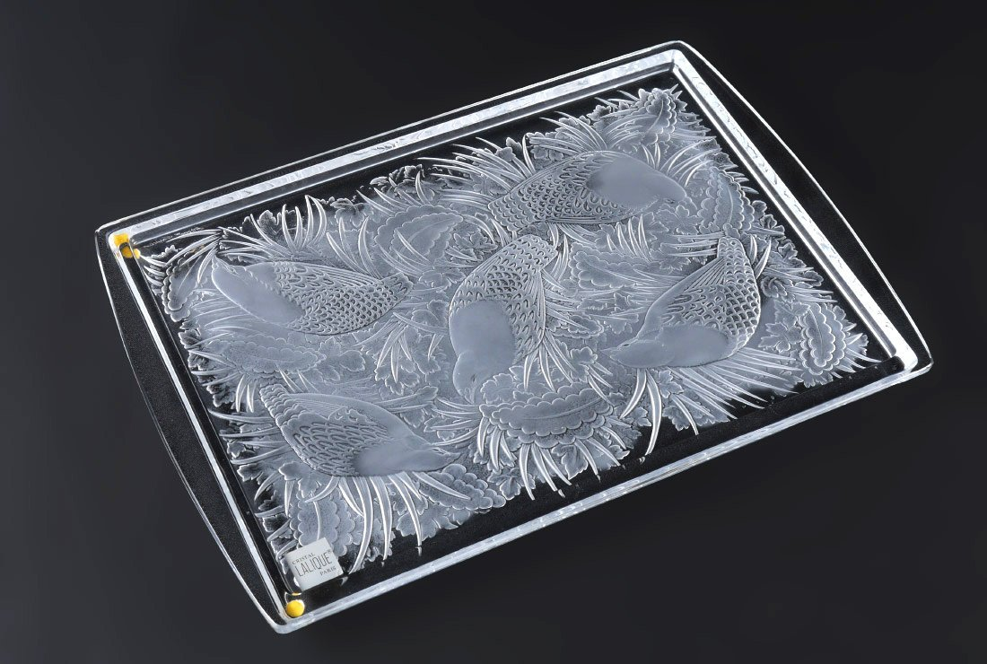LALIQUE PERDRIX CRYSTAL TRAY