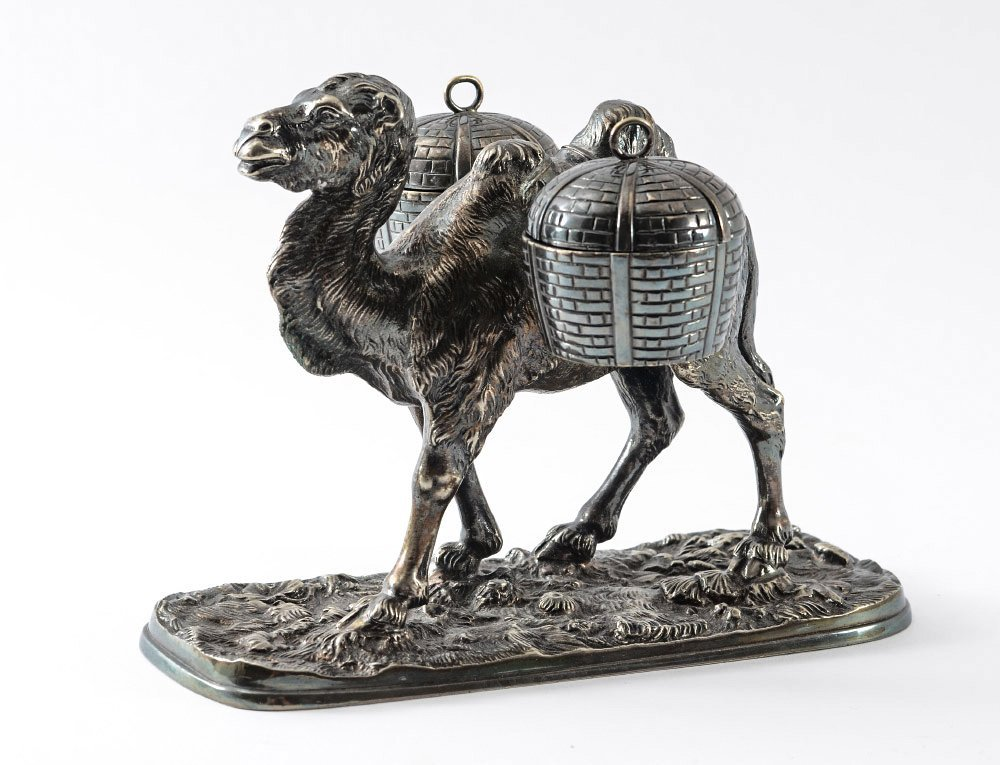 SILVERPLATE CAMEL FIGURAL INK STAND