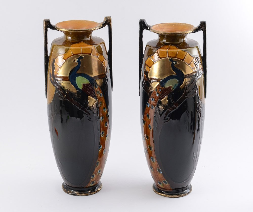 PAIR OF THOMAS FORESTER PHOENIX WARE VASES